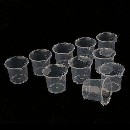 25ml Multi Purpose Measuring Cups Jug, Plastic Beaker for Laboratory Kitchen Mixing Paint (Pack of 10)
