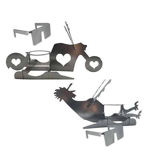 Portable Roster Chicken Motorcycle Stand With Beer Can Holder Funny Chicken Shape Grill BBQ Stainless Steel Rack Hot Sale