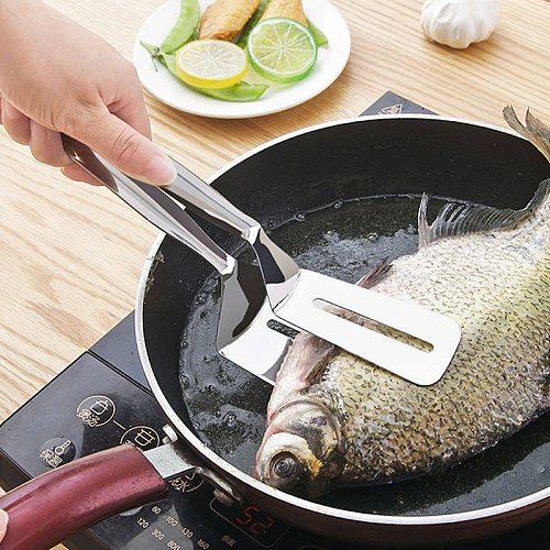 304 Stainless Steel Frying Shovel Clip Fried Fish Pizza Steak Shovels Home Kitchen Pancakes Frying Fish Shovel Fork Tool