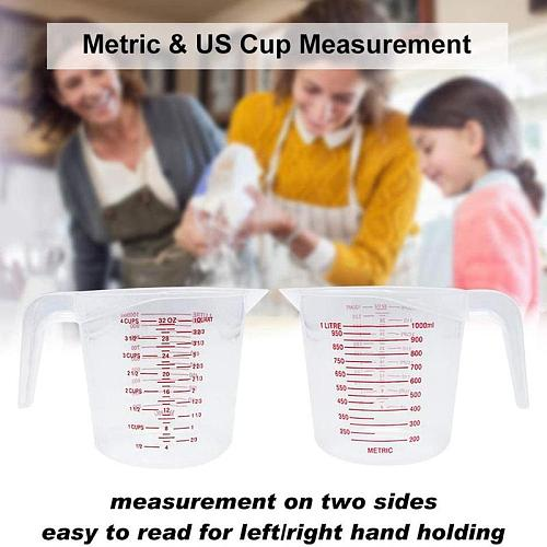 1pc 250/500/1000ml Plastic Measuring Cup With Graduated Kitchen High Quality Tool Baking Supplies pour Spout Scale Jug Surf K0C1