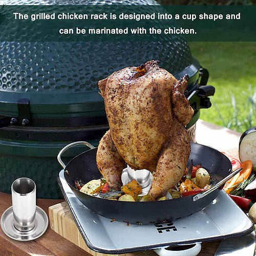 Steel Beer Can Chicken Turkey Roaster Oven Rotisserie Bbq Grill Rack Stand Holder Tray Turkey Vertical Poultry Roaster Rack
