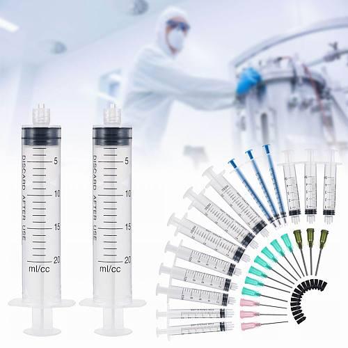 15pcs Syringes Set 14/16/20GA Blunt Tip Needle Caps Luer Slip Syringe Glue Applicator Multi-functional Refilling Measure Tool