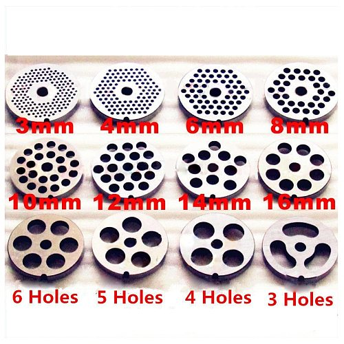 #22 Type 3mm-18mm Manganese Steel Meat Grinder Plate Cutting Plate For Meat  Food Cutting Grinding Machine Parts Accessories