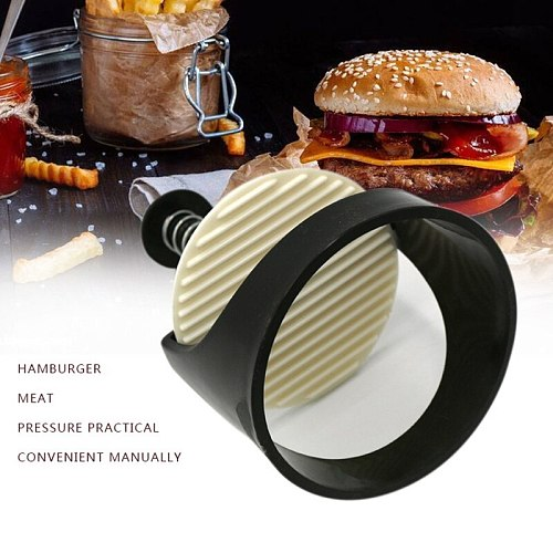 1 Pc Plastic Round Shape Hamburger Meat Press Stainless Steel Maker Kitchen Cooking Tools Gadgets Burger Press Meat Food Mold