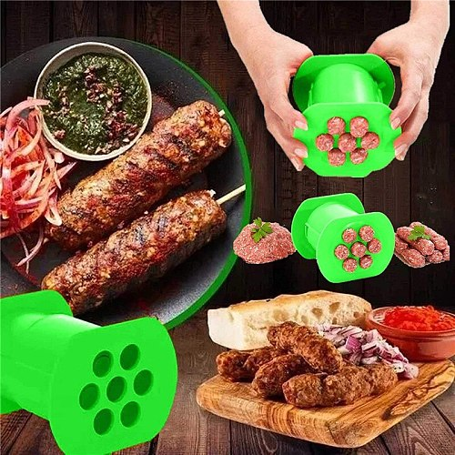 One Press Cevapcici Maker Kitchen Hot Dog Burger Meat Sausage Handmade Gadget Tool
