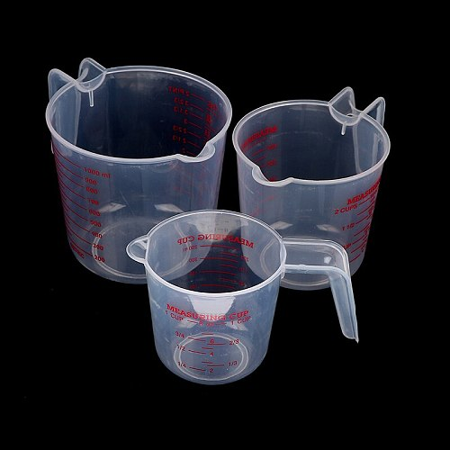 1PCS 250/500/1000ML Quality Cup Plastic Clear Measuring Cup Jug Pour Spout Surface Kitchen Tool Supplies