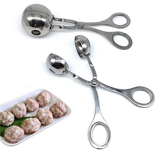 Stainless Steel Meatball Maker Spoon Kitchen Tools Shrimp Balls Mold Digging Ball Spoon DIY Meat Snack Foods Fish Balls Tools