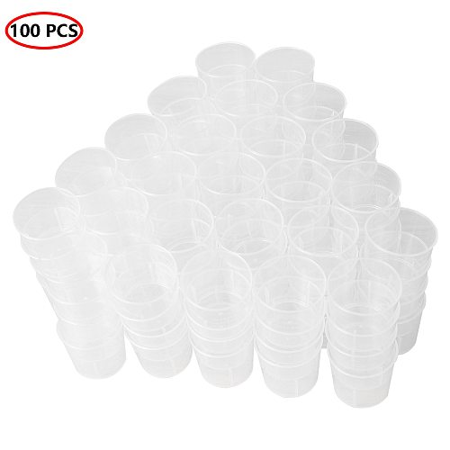 100 30ml Liquid Containers Clear Graduated Cups Kitchen Laboratory Measuring Pots PP Plastic Measuring Jugs Kit for Mixing Paint