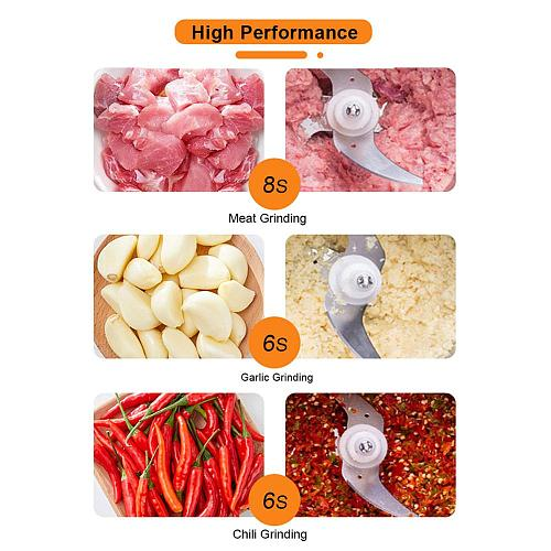 Household 2L Stainless Steel Two-speed Meat Grinder Food Preparation Mixing Meat Mincer