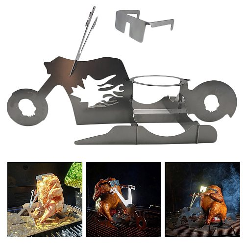 Portable Roster Chicken Stand With Beer Can Holder Funny Motorcycle Grill BBQ Stainless Steel Rack Shape Roaster Rack Stand