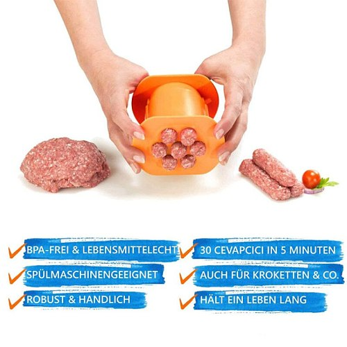One Press Kitchen Hot Dog Burger Meat Sausage Handmade Gadget Kitchen Diy Meat Strip Squeezer Meatball Rapid Prototyping Tools