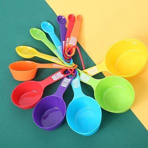 12pcs/Set  Multi Purpose Kitchen Measuring Spoons Cup Set PP Baking Accessories Colour Creative DIY Kitchen Accessory