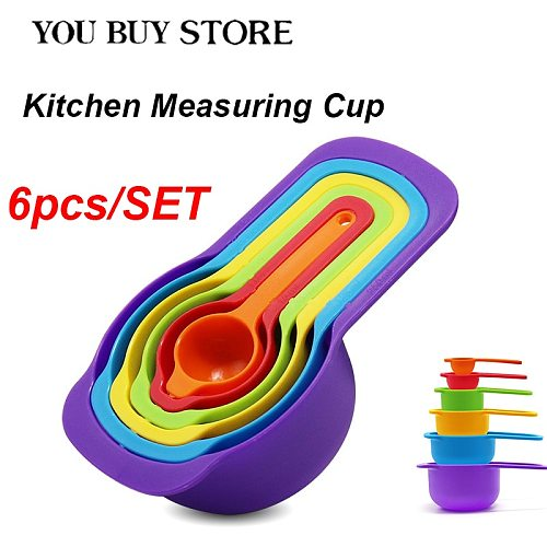 NEW 6pcs/set  Kitchen Measuring Spoons Measuring Cups Cooking  Baking Tools Colorful Plastic Sugar Measure Spoon Sell with Cheap