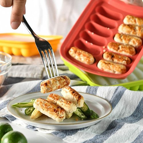 Silicone Ham Hot Dog Burger Make Mould DIY Sausage Making Mould Baby Food Supplement Baking Tools Kitchen Props With 12 Grid