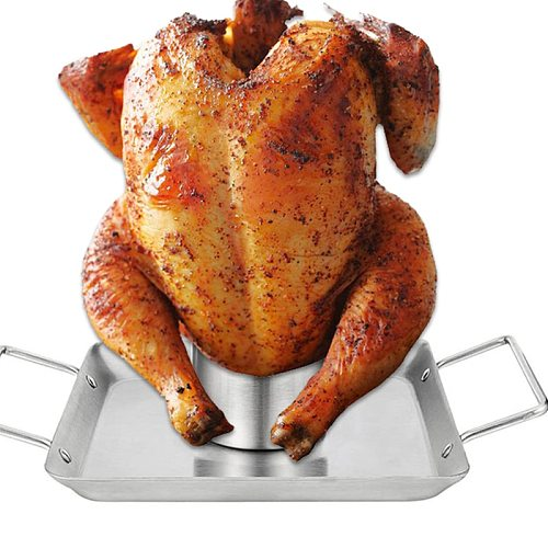 Barbecue Non-Stick Chicken Roaster Accessories Stainless Steel Chicken Roaster Rack Beer Can Chicken Holder for Grill Oven BBQ
