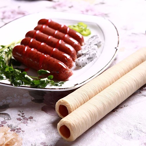 Sausage Casing 14m Collagen Flexible Half-Transparent Sausage Skin  for Sausage Hot Dog Hamburger 20mm 26mm