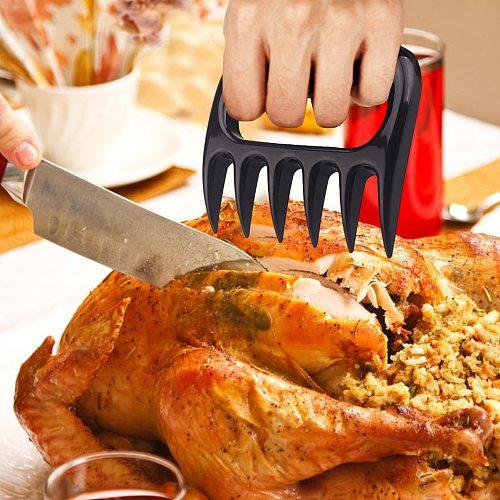 2 Pcs Meat Shredder Barbecue Fork Bear Claw Meat Separator Handle Kitchen Food Fork Meat Slicer BBQ Grill Meat Handler Kitchen