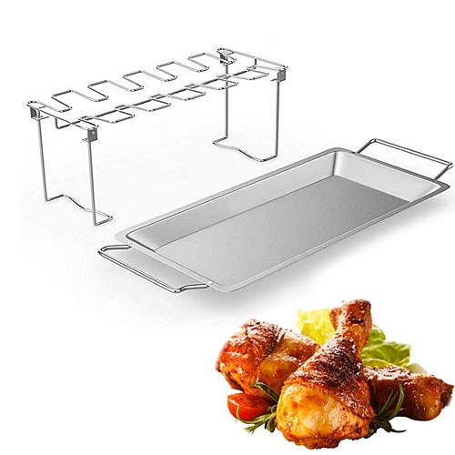 Collapsible Stainless Steel Barbecue Roaster Stand Tray Chicken Wing Leg Rack Grill With BBQ Pan Barbecue Accessories