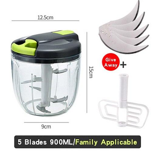 Manual Meat Grinder 500/900ML Hand Mixer Chop Fruit Vegetable Wist Shredder Household Hand-pulled Vegetable Cutter For Home