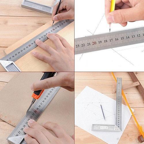 Steel 90 Degree Angle Ruler Measuring Tool Metric Mitre Woodwork Carpenter Square Tools Ruler K2Q8