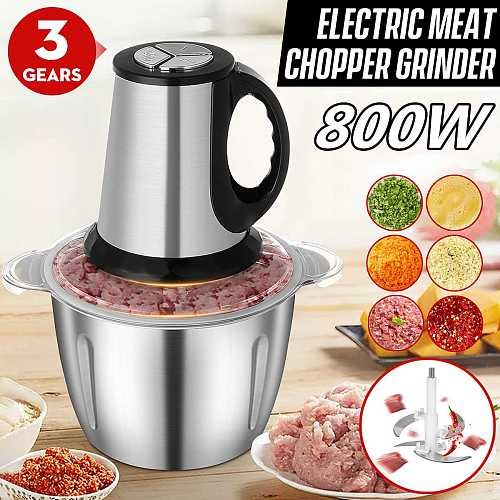800W 3L Stainless Steel Meat Grinder Mixer Blender 3 Speed Electric Chopper Household Automatic Mincing Machine Food Processor