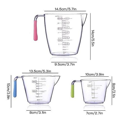 3pcs/set Measuring Cups Plastic Handle Measuring Jugs Scaled Stackable Kitchen Measurements