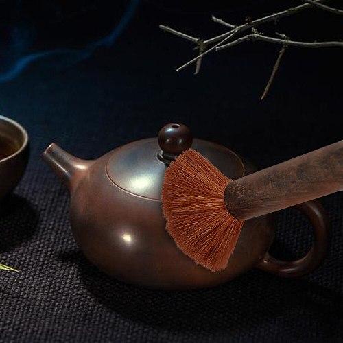 Soft Hair Teapot Brush Wood Handle Tea Pot Dust Brush Bottle Kettle Spout Clean Household Kitchen Tools