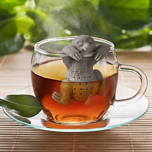Creative Silicone Tea Maker Household Reusable Eco-Friendly Tea Drain Cute Cartoon Sloth Filter Leaves Strainer Kitchen Gadgets