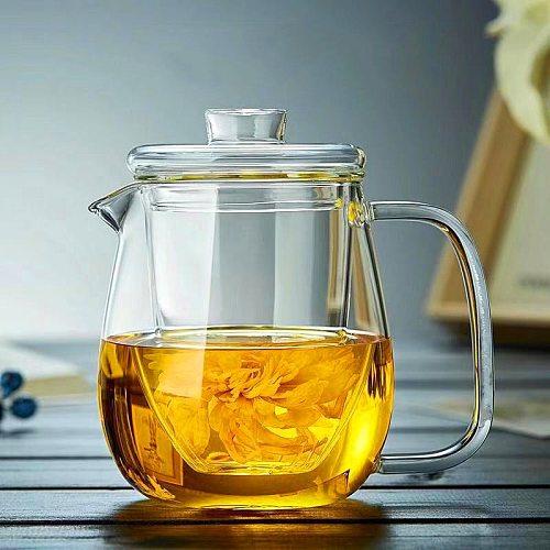 Glass Tea Infuser Tea Pot Chinese Kung Fu Tea Set Puer Kettle Coffee Glass Maker Convenient Office Teapot 500Ml