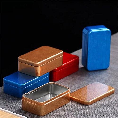 1PC Tea Tin Box Packaging Custom Food Grade Tin Can Black Metal Square Boxes Aluminum