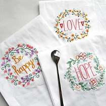 Letter Embroidery Wedding Serviette Absorbent Cotton Concise Upscale Placemat Cloth Table Napkin Kitchen Use Handkerchief