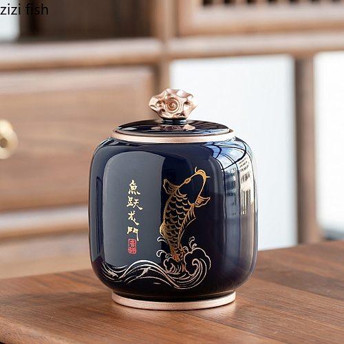 Tea Caddy Ceramics Tea Cans Sealed Jar Moisture-proof Storage Tank Tea Box Decorative Jar Sugar Bowl Tea Organizer Food Storage