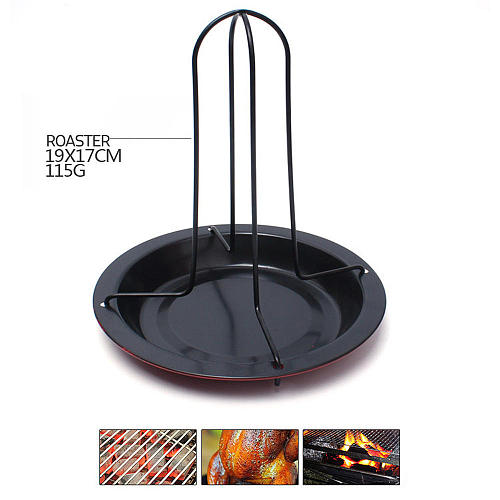 BBQ Stand Thanksgiving Chicken Roaster Rack With Bowl Carbon Steel Turkey Roaster BBQ Grill Rack Stand Holder Tray