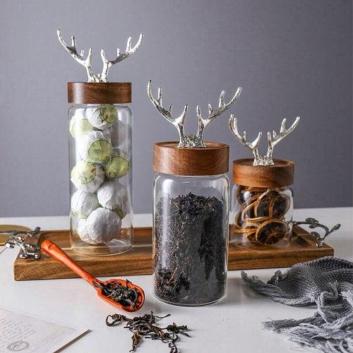 Glass Bottle Nordic Glass Storage Jar Household Food Storage Bottle Acacia Wood Cover Sealed Jar Sugar Jar Tea Box