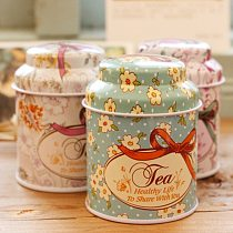 1PC Flower Design Metal Sugar Coffee Tea Tin Jar Container Candy Sealed Cans Box Random Color Wholesale
