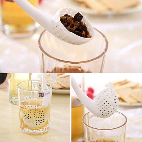 Elegant Swan Tea Strainer Tea Bags Plastic Loose-leaf Tea Infuser Filter Diffuser Fun Cartoon Tea Accessories tea strainer