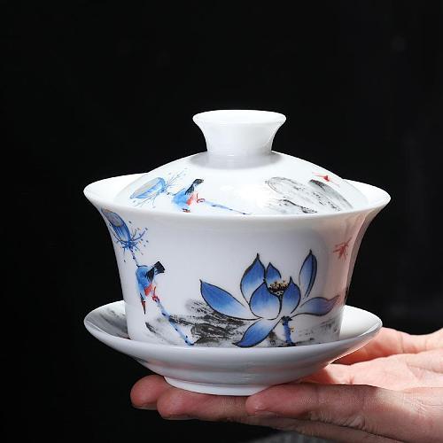 Chinese Style Teaware Sets Gaiwan Ceramic Teapot Kettle Handpainted Gaiwan Teacup Porcelain Chinese Kung Fu Tea Set Tea Tureen