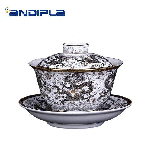 160ml Jingdezhen Gaiwan Hand Painted Dragon Pattern Noble Tea Bowl Porcelain Drinkware Teaware Home Decor Collection Tea Tureen