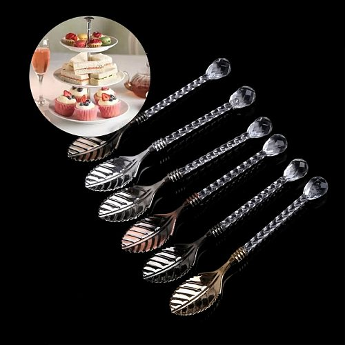 6Pcs Vintage Coffee Spoon Dessert Cake Ice Cream Tea Scoop Carved Mini Spoons Y1QB