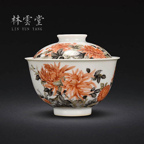 Lin Yuntang hand-painted alum red color ink colour was tureen jingdezhen ceramic glaze chrysanthemum two bowl tea sets