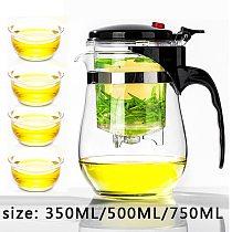 High quality Heat Resistant Glass Teapot Chinese kung fu Tea Set Puer Kettle Coffee Glass Maker Convenient Office Tea Pot