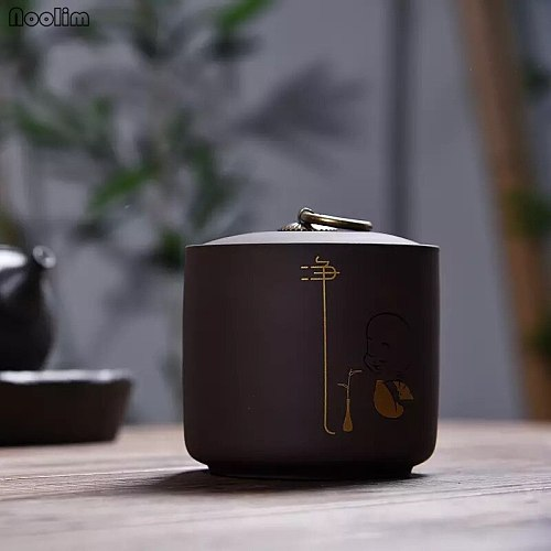 NOOLIM Purple Clay Kung Fu Sealed Box Tea Caddy Mini Kitchen Food Container Ceramic Caddies For Puer Matcha Storage Chests