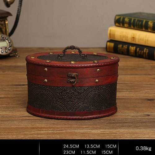 Delicate Ancient Chinese Style Round Tea Leaves Cake Storage Box Tea leaves Display Organizer Wooden Tea Package Gift Box - A Si