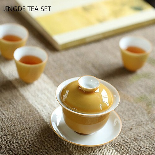 Chinese Ceramics Tea Tureen Home Personal Teacup Travel Portable Teaware Handmade Tea Ceremony Supplies with Cover Cup Saucer