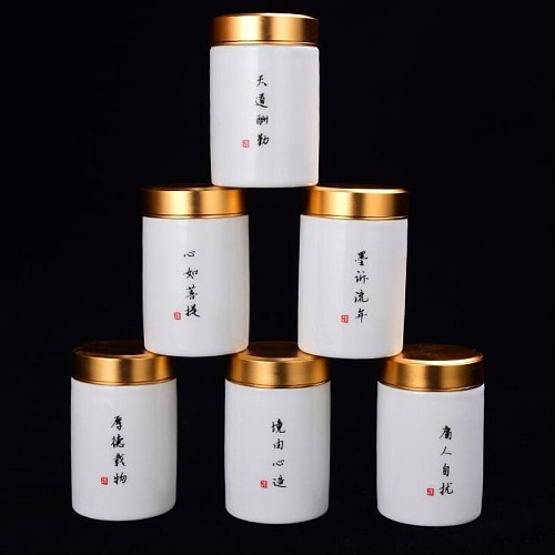 WSHYUFEI Hand Painted Ceramic Tea Cans Jingdezhen Handmade tea box Mini Portable Sealed Jar Spice tea ointment container