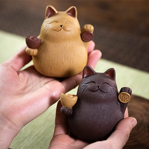 New Purple Clay Tea Pet Cat Decoration Handmade Sculpture Creative Ingot Lucky Cat Can Raise Tea Set Tea TrayDecor Accessories