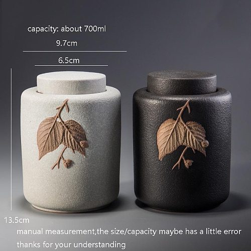Vintage Ceramic Tea Caddy Seal Jar Green Tea Puer Storage Box Container Coffee Beans Nuts Cans Teaware Accessories Decor Crafts
