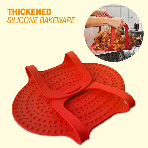 Silicone Turkey Lifter Heat Resistant Non-Stick Oven Meat Roast Barbeque Mat
