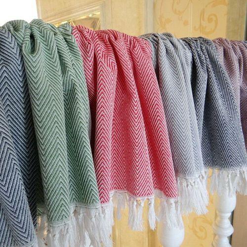 100% Cotton Yarn Dyed Dish Towel With Hand-made Tassel Napkin Tea Towel  Dishtowel Kitchen Towel Cleaning Cloth Decorative