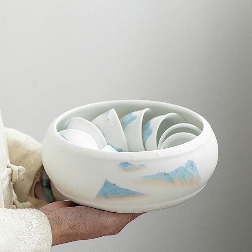 Ceramic Whiteware Ceramic Tea Basin Large Writing-Brush Washer Washed Tea Basin Tea Bowl Kung Fu Tea Set Accessories TeaCeremony